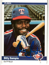 Billy Sample 1984 Fleer Texas Rangers SIGNED CARD AUTOGRAPHED