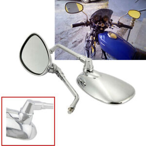 1 Pair 10mm Chrome Plate Adjustable Motorcycle White Glass Rear View Mirrors