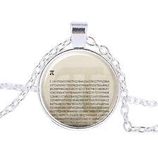 Vintage PI number Cabochon Tibetan Silver Glass Chain Pendant Necklace #B259