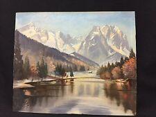 Vintage Signed Oil Painting of Bavarian Lake Mountain Resort Garmisch, Germany