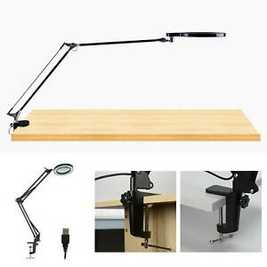 LED Desk Lamp 5X Magnifier Glass With Light Stand Clamp Beauty Magnifying Lamp