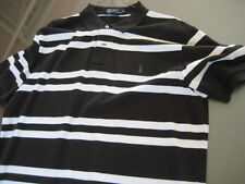 MENS Genuine Ralph Lauren POLO SHIRT B&W Striped Short Sleeve Sz Large L Used