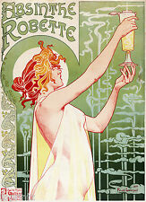 french 1895 Vintage Print  Art deco  Poster Advert ABSINTHE old retro wall decor