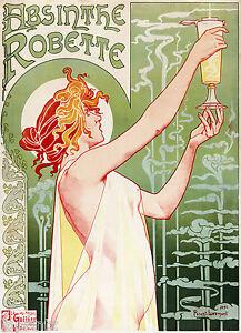 ABSINTHE  Vintage Print  Art deco  Poster painting Advert old retro wall decor