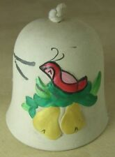 """Ceramic Pottery 3"""" Decorative Hanging Bell Partridge in Pear Tree Christmas"""