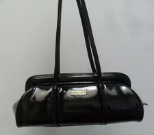 Di Gregorio Black Patent Leather Shoulder Hand Bag Made in Italy