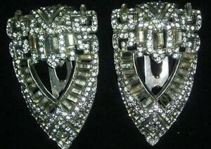 Vintage Shoe Clips Silver Tone Clear Rhinestones Art Deco Victorian
