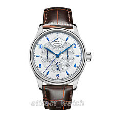 43mm Parnis Automatic Power Reserve Mens Wrist Watch Casual Stainless Steel Case