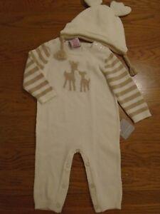 BNWT baby knitted romper & hat. Reindeer. Tahari baby. 0-3 months         (2/1)
