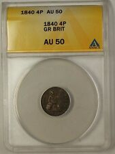 1840 Great Britain Groat Four Pence 4P Silver Coin ANACS AU-50