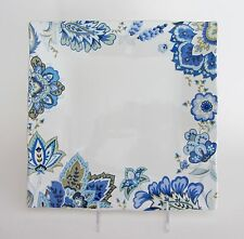 """222 Fifth MIRABELLE DINNER PLATE Square 10"""" side Blue White Paisley NEW"""