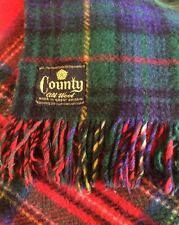 COUNTY Vintage Reversible Pure Wool Tartan Blanket Throw Cover Spread 60x64 inch
