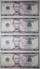 Uncut sheet of $5 Five dollar bills genuine US un-cut money x4 Uncut Currency!