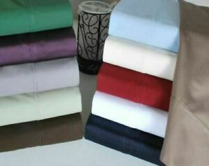1000 TC Ultra Soft 100% Cotton Olympic Queen Size Sheet Set All Solid Colors