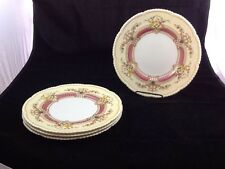 CAULDON ENGLISH CHINA YELLOW PINK  Floral  Set of 4 Dinner Plates  9105