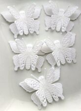 10 ACRYLIC FLATBACK BUTTERFLY CABOCHONS / EMBELLISHMENTS 36x50mm ~ WHITE
