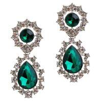 EMERALD GREEN SILVER ART DECO Crystal Rhinestone Designer Chandelier Earrings