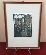 STAMPA ANTICA AMIENS XILOGRAFIA FIRMATA old antique print con cornice INCISIONE