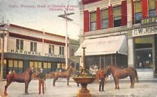CHEHALIS, WA Public Fountain, Chehalis Avenue Street Scene 1910 Vintage Postcard
