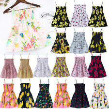 Toddler Baby Kids Girls Sleeveless Summer Print Party Beach Dresses Clothes UK