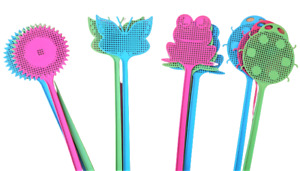 Pack of 5 Fly Swatters swat bug mosquito wasp Plastic swatter long handle