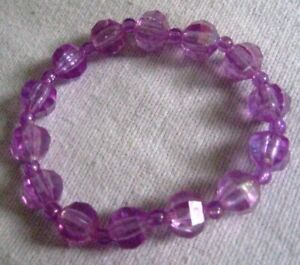 New Stretch Bracelet light Amethyst AB acrylic faceted beads, comes gift boxed