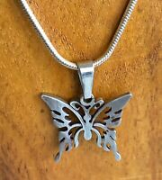 "Vintage Filigree Silver Tone Butterfly Pendant 1"" x 1"" Snake Chain 19"" Necklace"