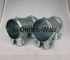 2 Stück Auspuff Rohrverbinder / Doppelschellen 52 x 125 mm