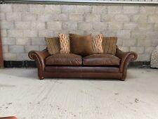 Tetrad Zhivago Midi Sofa in Aged Leather Hide & Fabric