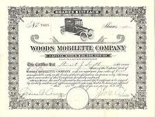 ARIZONA 1917 Woods Mobilette Company Stock Certificate