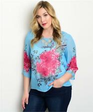 NEW..Goegeous Plus Size Blue Floral Placement Print Top..Sz14/1XL