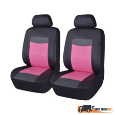 Luxury PU Leather Universal Front Car Seat Covers Black Pink Auto Seats Protect