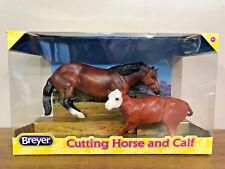BREYER CUTTING HORSE AND HEREFORD CALF MODEL HORSE SET 61091 BRAND NEW CHRISTMAS