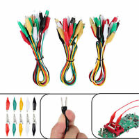 10PCS Crocodile Clip Double Ended Wire Leads Electric Test Cable Coloured