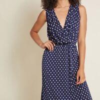 Modcloth Adoring Outcome Faux Wrap Polka Dot Dress Medium Navy Blue