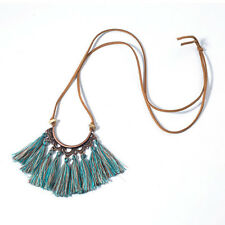 Womens Vintage Boho Bronze Plated Tassel Pendant Long Bib Necklace Chain