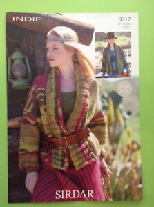 """Sirdar Indie Ladies Easy Knit Jacket Knitting Pattern 32-42"""" 9317"""