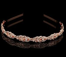 Women Gold Wedding Leaf Crystal Hair Band Headband Hoop Tiara Crown headpiece