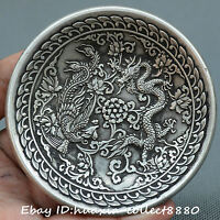 Collect Tibet Buddhism Old Miao silver plate carve dragon phoenix lucky plate
