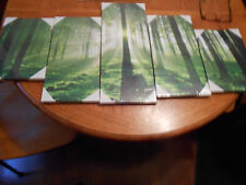 WALL CANVAS SET - GREEN TREES - FIVE PIECES IN ALL - NEW IN  PACKAGING