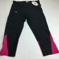 Under Armour Women's Fly-By Capri Compression Black/Tropic Pink Size LG