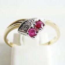 Ring Gold 585er Diamant Rubin 14 kt. Goldringe Rubinringe Gelb und Weißgold