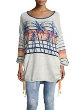 FREE PEOPLE MS SIZE LARGE PALM BREEZE PRINT 3/4 TAB SLEEVES PULLOVER SWEATER