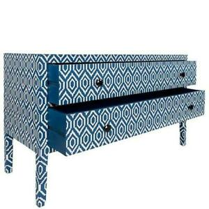 New Designer Bone Inlay Chest Of 2 Drawers In Blue Color For Home Decoration