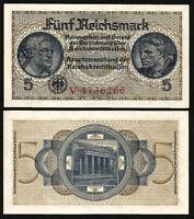 GERMANY 5 REICHSMARK 1940 1945 , AUNC / UNC , P-R138a , 7 DIGIT SERIAL