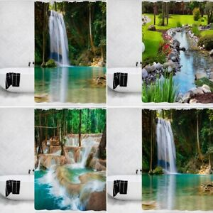 """Modern Forest Shower Curtain Waterproof Polyester Fabric Bathroom with Hooks 71"""""""