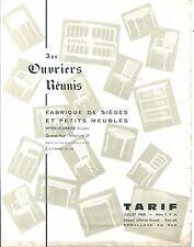 Aux Ouvriers Réunis Tarif 1968 Fabrique de sièges et petits meubles