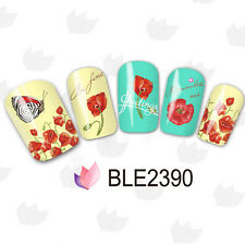 Water Decals Red Flower Remember Me Nail Art Transfer Sticker 2390