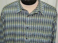 Men's XL Jhane Barnes Long Sleeve Shirt 100% Cotton Blue/ Green Made in Italy