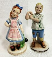 VINTAGE LEFTON COUNTRY LIFE BOY AND GIRL FIGURINE PORCELAIN  OCCUPIED JAPAN